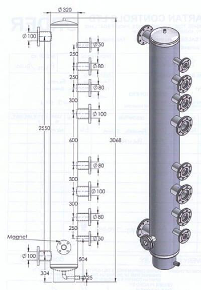 Low loss header multiple tappings diagram